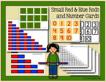 Printable Montessori Red & Blue Rods, Number Cards, & Extension Sheets