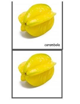 Printable Montessori Simple Nomenclature Cards - Fruits Matching Activity