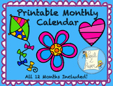 Printable YEAR LONG-Monthly Calendar for Students