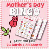 Mother's Day Vocabulary BINGO & Memory Matching Card Game