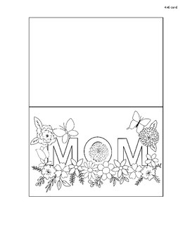 Printable Mother's Day Card, Color your own, gift, Happy Mother's day, Mom's Gif