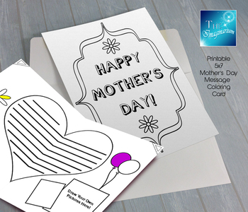 Printable Mother's Day Coloring Card (5x7)