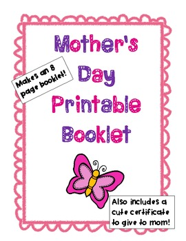 Printable Mother's Day Booklet