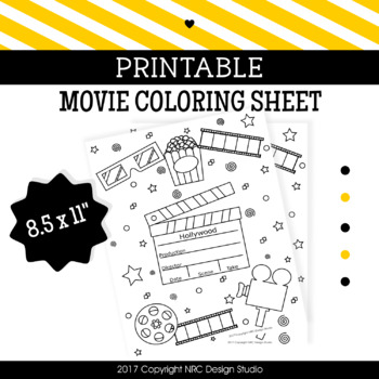 Printable Movie Coloring Page, Classroom Activities