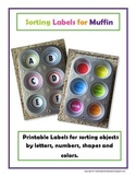 Printable Muffin Tin Labels for Sorting Objects
