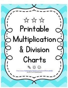 Printable Multiplication & Division Charts