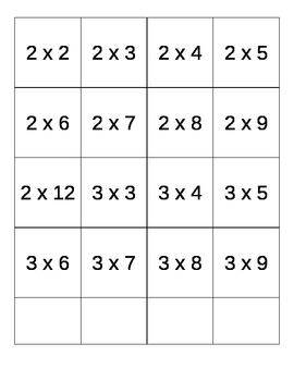Printable Multiplication Flash Cards (No Repeats)