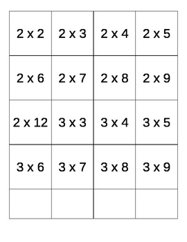 Printable Multiplication Flash Cards (No Repeats)
