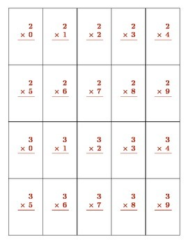 Printable Multiplication Flashcards Digits 0 - 9