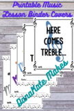 Printable Music Lesson Binder Covers in black and white and color