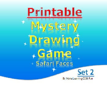 Printable Mystery Drawing Set 2 Safari Faces Elementary Fun Game