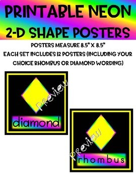 Printable NEON 2D Shapes Poster Set 12 Posters - 4 Styles