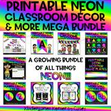 Printable NEON Classroom Decor and More MEGA BUNDLE