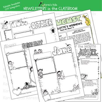 Printable NEWSLETTERS in the CLASSROOM (Karen's Kids Printables)