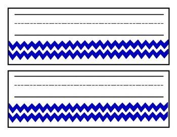 Printable Name Plates: Royal Blue Chevron