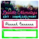 Printable Name Tags Doodle Theme
