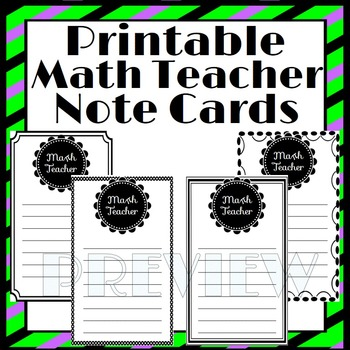 Printable Note Cards for Math Teachers