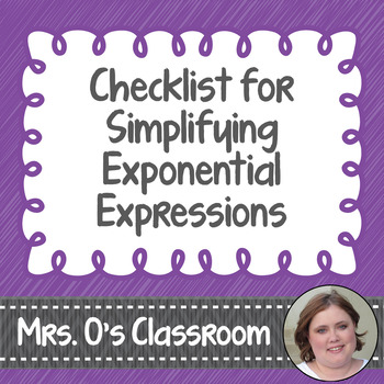 Printable Notes Handout - Checklist for Simplifying Exponential Expressions