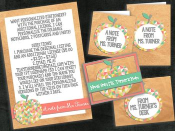 Printable Notes and Postcards from the Teacher - Communication With Style!