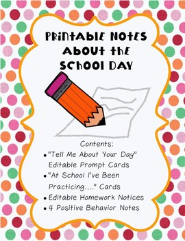 Printable Notes to Send Home About School