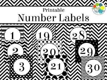 Printable Number Labels in Black and White Theme