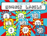 Printable Number Labels in Comic Book Theme