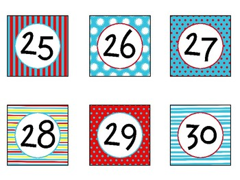 Printable Number Labels in Primary Colors Theme