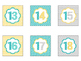 Printable Number Labels in Yellow Teal and Gray