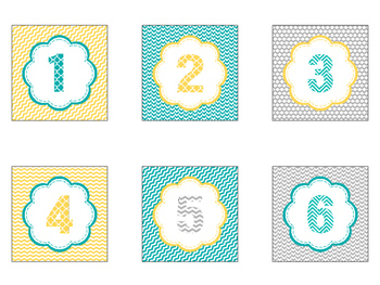 Number Labels in Yellow Teal and Gray