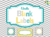 Editable Blank Labels in Yellow Teal and Gray