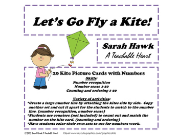 Printable Numbered Kites 1-20 for Number Recognition, Coun