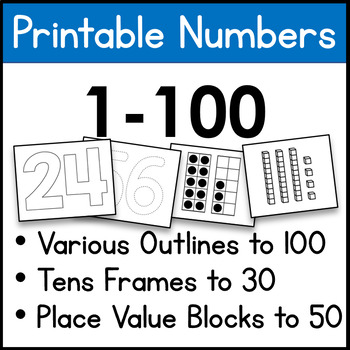 image regarding Printable Numbers named Printable Figures 1-100, Outlines, Dotted Outlines, Tens Frames, and so forth.
