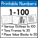 Printable Numbers 1-100, Outlines, Dotted Outlines, Tens F