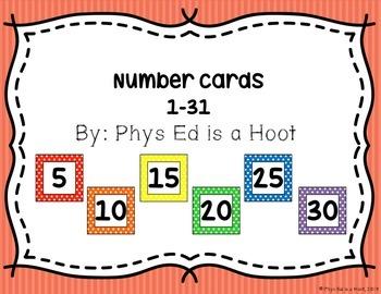 Printable Numbers 1-31