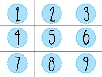 Blue Printable Numbers #1-40