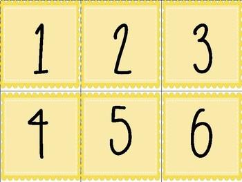 Yellow Printable Numbers #1-40