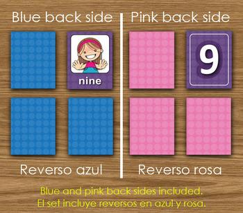 Numbers - English - Matching Cards - DIY Memory Game - Kids - Printables