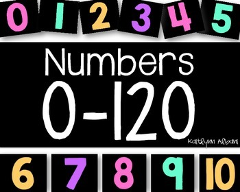 Printable Numbers for Number Lines and Tables