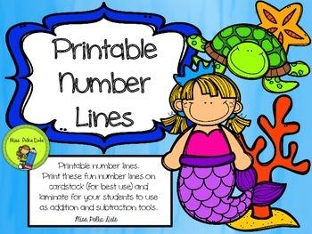Printable Ocean Themed Number Lines