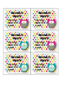 Printable Open House Owl Welcome Tags