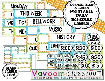 Printable Orange, Blue, & Green Patterned Daily Schedule Cards
