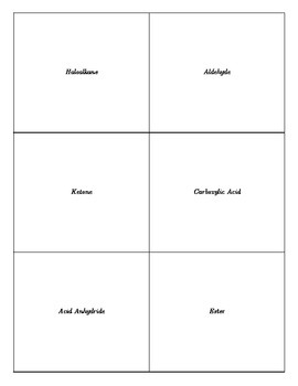 Printable Organic Chemistry Compound Types Flashcards