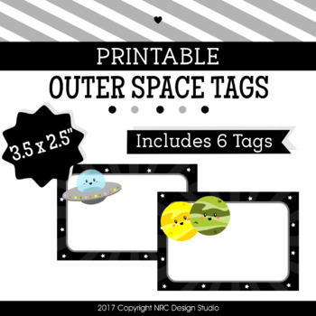 Printable Tags, Outer Space, Labels, Name Tags - Classroom Decoration