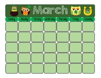 Printable Owl Blank Calendar - Seasonal Design!