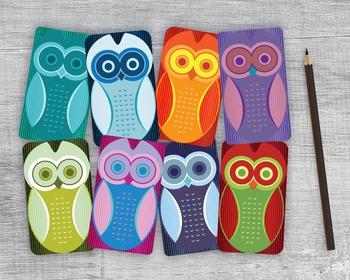 Printable Owl Gift Tags - 8 Handmade Round Edge Owl Favors Collage Sheet