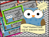 Printable Owl themed back to school treat labels