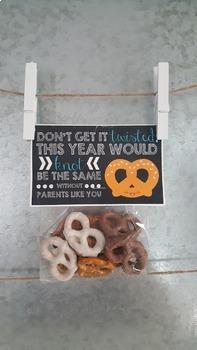 Printable PARENT Pretzel Gift Bag Tag Label