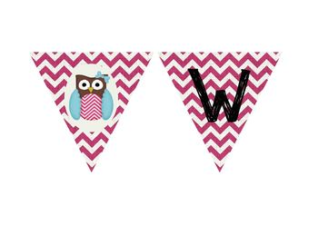 Printable PDF - Pink Chevron Owl Welcome Banner for the classroom