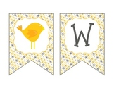 Printable PDF Yellow and Grey Bird themed Welcome Banner f