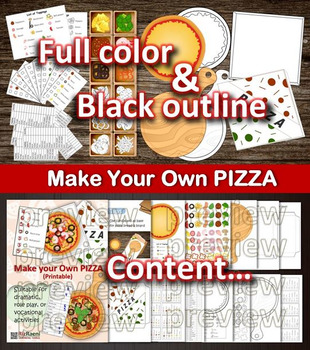 Printable PIZZA Activities (board game, vocational, dramatic play)